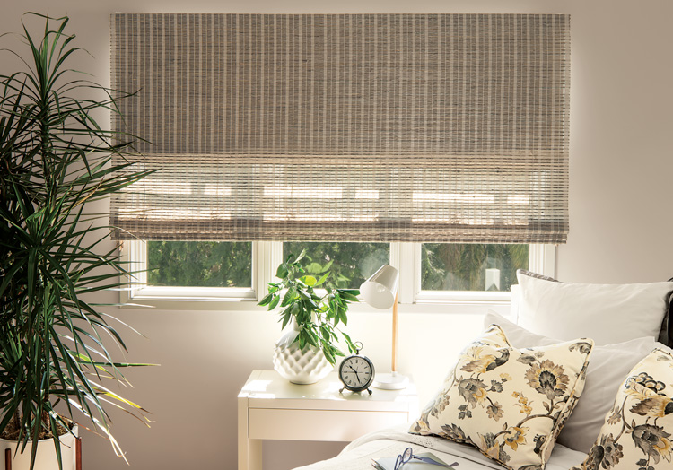 Blackout window treatments room darkening options from for Smith and noble natural woven shades