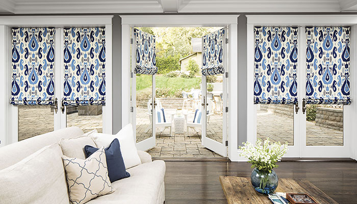 Fabric Roman Shades in the living areas