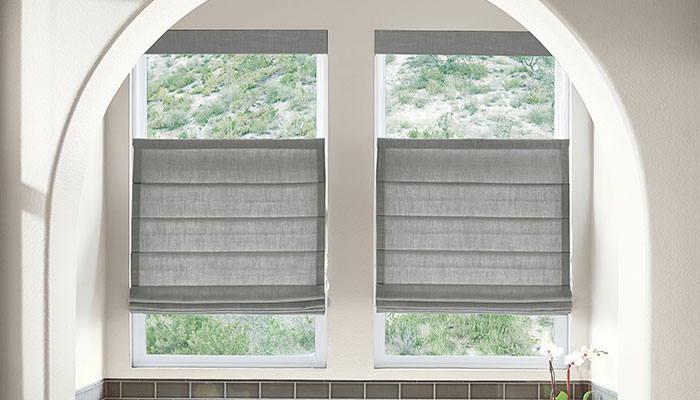 Custom fabric roman shades in limitless styles and fabrics for Smith and noble bamboo shades