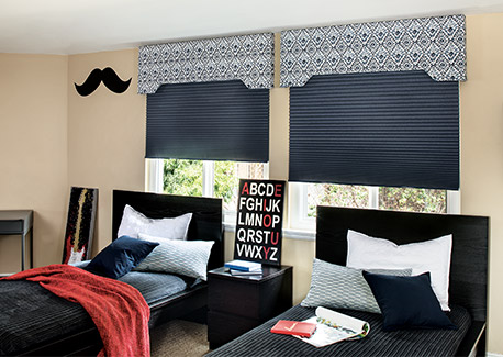 Honeycomb shades in the bedroom