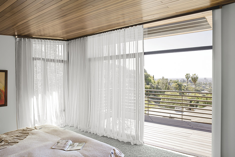 sheer curtains for large window with corner
