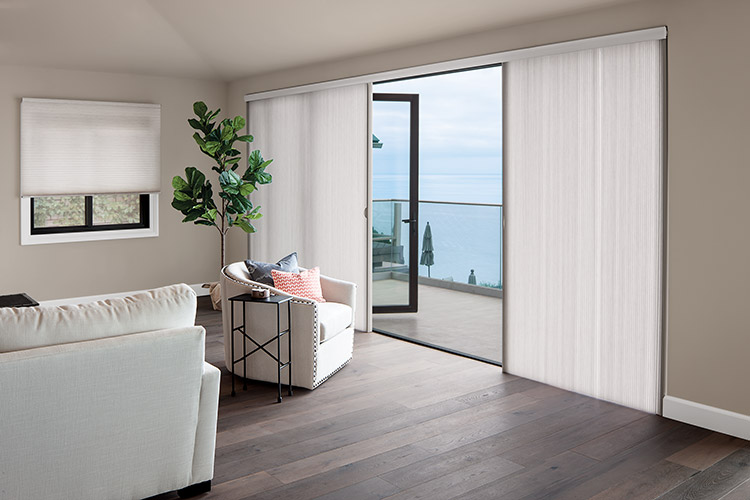 Honeycomb shades for sliding door