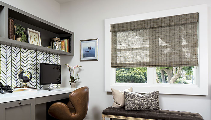Natural Woven Shades in Living Rooms