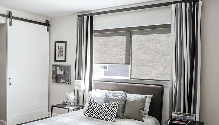 Beautiful elegant custom roller shades made to match for Smith and noble shades