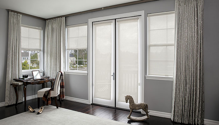 custom solar shades available in a variety of styles fabrics smith noble. Black Bedroom Furniture Sets. Home Design Ideas